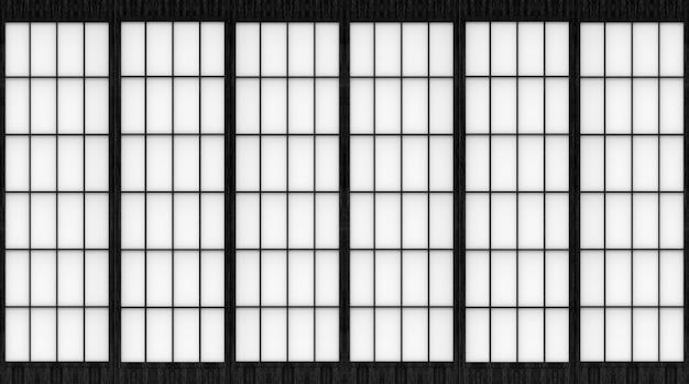 Rendering 3d. fondo della parete della porta scorrevole di carta di stile giapponese tradizionale moderno.