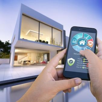 Rendering 3d di una moderna villa con piscina controllata dall'esterno da uno smartphone