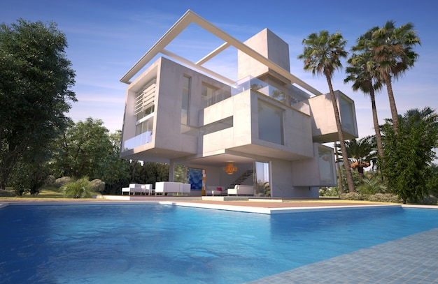 Rendering 3d di una moderna villa con piscina in un giardino esotico