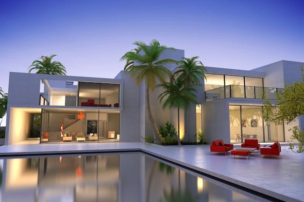 Rendering 3d di una villa moderna