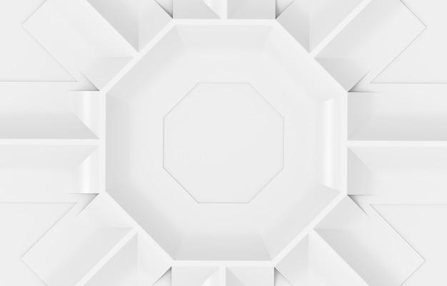 Rendering 3d. fondo bianco moderno della parete di progettazione del piatto di forma esagonale.