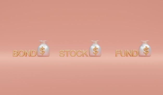 Rendering 3d di borsa di denaro con fondo azionario obbligazionario di parola sullo sfondo del concetto di diversificazione