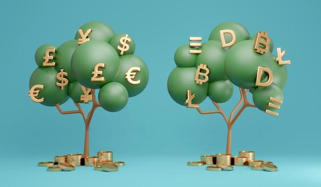 3d rendering confronto albero dei soldi dell'albero della valuta fiat e dell'albero della criptovaluta sullo sfondo