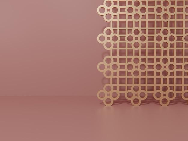 Rendering 3d monocromatico rosa e oro rosa chiaro studio girato sfondo con schermo decorativo in stile cinese per l'esposizione di prodotti di bellezza e bevande