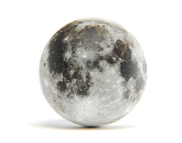 Rappresentazione 3d della luna isolata. gli elementi di questa immagine sono forniti dalla nasa