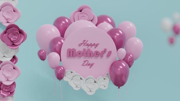 Rendering 3d sfondo della carta di festa della mamma con palloncini rosa e rosa tenue e fiore rosa sullo sfondo del cielo bluillustrazione 3d render