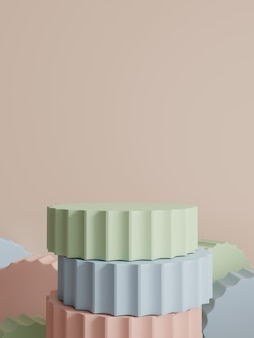 Rendering 3d multi color studio shot sfondo di visualizzazione del prodotto con blocchi di piattaforma impilabili