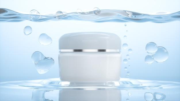 Rendering 3d della bottiglia di crema cosmetica naturale per la visualizzazione del prodotto