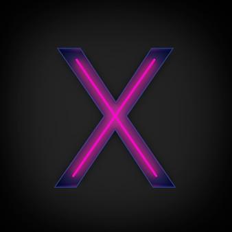 Rendering 3d, lettera maiuscola rossa al neon x accesa, all'interno della lettera blu.