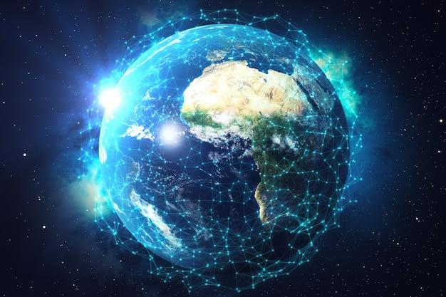 Rendering 3d scambio di reti e dati sul pianeta terra nello spazio. linee di connessione around earth globe. blue sunrise. connettività internazionale globale. elementi di questa immagine forniti dalla nasa