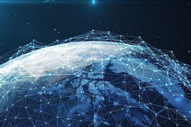 Rendering 3d scambio di reti e dati sul pianeta terra nello spazio. linee di connessione around earth globe. connettività internazionale globale, elementi di questa immagine fornita dalla nasa