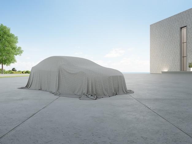 Rendering 3d di auto nuove ricoperte di stoffa