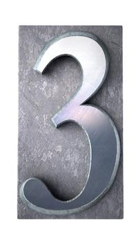 Rendering 3d del numero 3 in casi di lettere stampate dattiloscritte