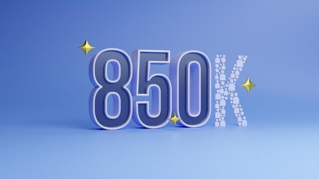 Rendering 3d numero 900k che significa novantamila su sfondo blu