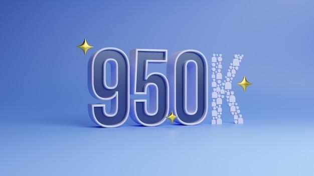 Rendering 3d numero 950k che significa novecentocinquantamila su sfondo blu