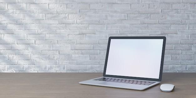 Oggetto di rendering 3d. mouse del computer portatile posizionato sulla scrivania in legno e sul muro di mattoni bianchi con luce solare.