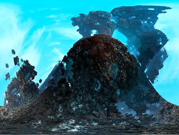 Rendering 3d di terra che sale nell'aria. sfondo di pietra. trama di granito.