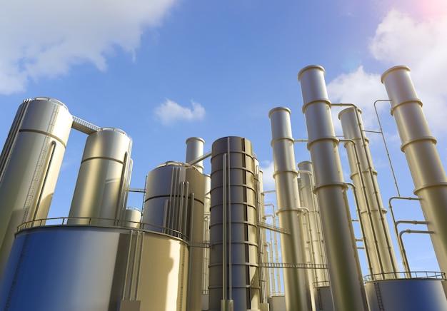 Impianto di raffineria di petrolio rendering 3d con sfondo azzurro del cielo