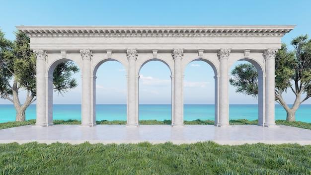 3d rendering padiglione vecchio stile con sfondo mare
