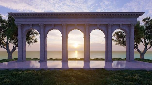 3d rendering padiglione vecchio stile con sfondo tramonto sul mare