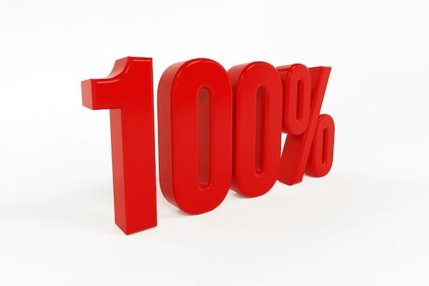 Rappresentazione 3d di un simbolo delle percentuali uno hundered