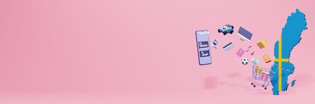 Rendering 3d dello shopping online in svezia per social media e siti web