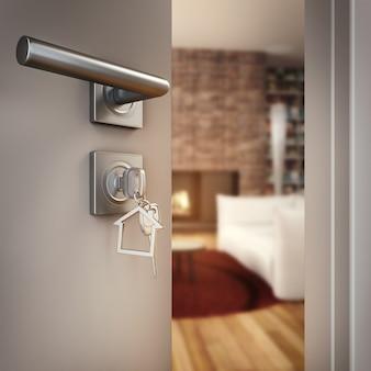 Rendering 3d porta aperta con chiave sul soggiorno di una casa
