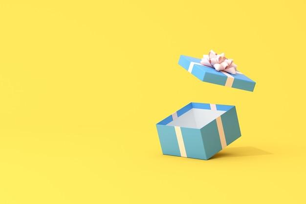 Rendering 3d di una confezione regalo aperta.