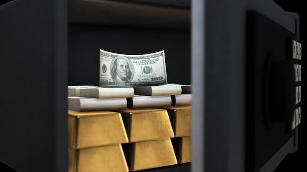 Rappresentazione 3d di una cassaforte aperta con soldi e oro