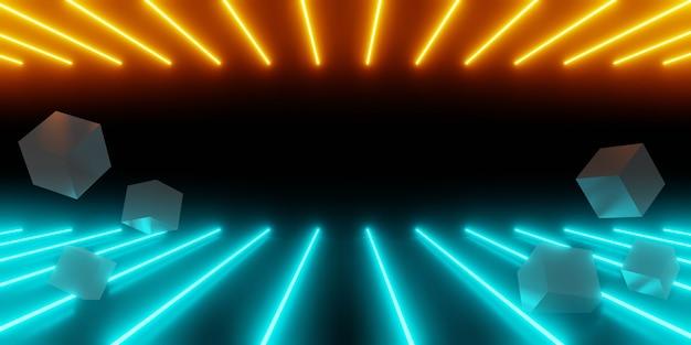 3d rendering di arancione blu incandescente luce al neon abstract