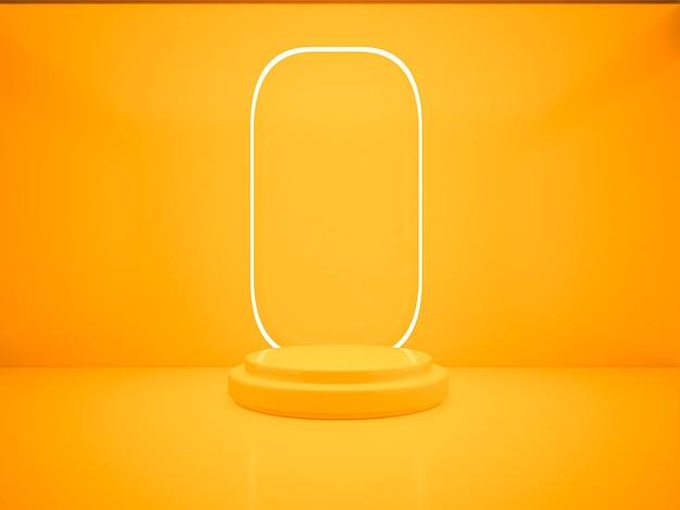 Rendering 3d podio arancione su illuminazione al neon e sfondo e concetto minimalista