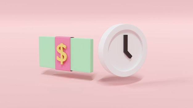 Pacchetto di rendering 3d di banconote da un dollaro e un orologio in un concetto pastello di denaro e tempo