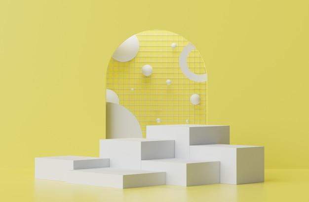Rendering 3d di una scena del podio con display pastello per mock up e presentazione di prodotti con sfondo giallo e grigio illuminante.