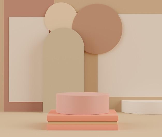Rendering 3d della scena del podio con display pastello per mock up e presentazione di prodotti con sfondo minimo.