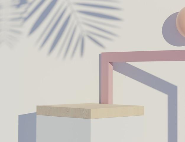 Rendering 3d della scena minima pastello del podio bianco bianco con tema toni della terra. colore saturo smorzato. design di forme geometriche semplici. display moderno per la presentazione del prodotto.
