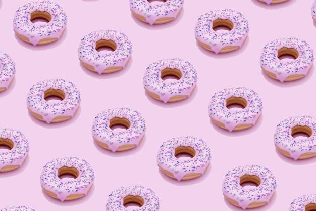 Modello di rendering 3d di ciambelle dolci con glassa rosa su sfondo rosa.