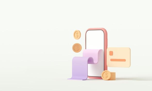 Pagamento di rendering 3d tramite il concetto di carta di credito.