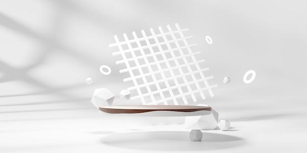 Rendering 3d del podio del piedistallo, spazio vuoto di visualizzazione minima astratta. podio di geometria per prodotti cosmetici di bellezza.