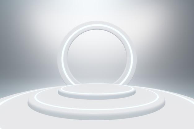 Rendering 3d del piedistallo con cerchio luminoso