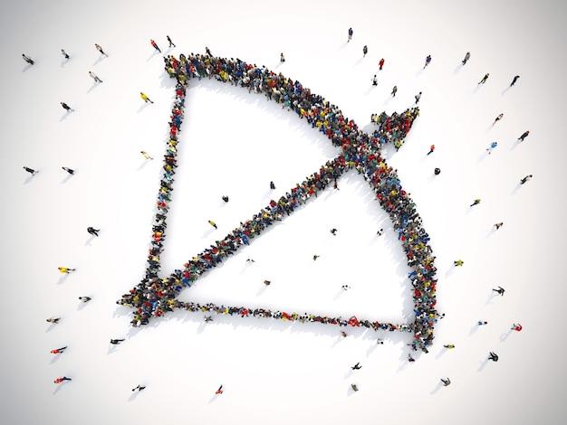 Il rendering 3d di persone forma un arciere con la freccia