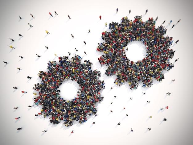 Rendering 3d di persone unite formano due ingranaggi. concetto di sistema di lavoro di squadra