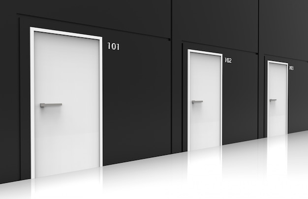 Rappresentazione 3d vista di prospettiva delle file bianche residenziali della porta sulla parete nera del cemento.