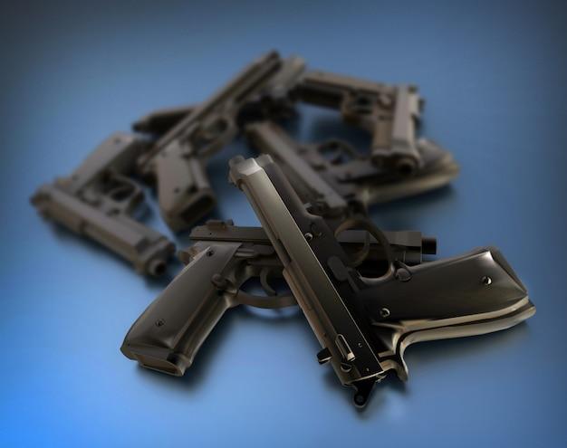 Rendering 3d di un mucchio di pistole su una superficie blu