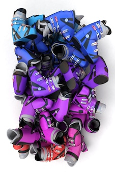 Rendering 3d di un mucchio di scarponi da sci