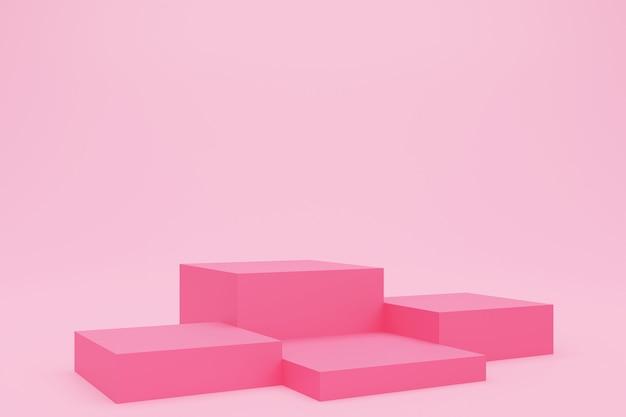 Rendering 3d di podio cubo rosa o piedistallo con sala studio vuota, sfondo del prodotto, modello di modello per l'esposizione di san valentino, concetto di amore, geometrico di forma quadrata