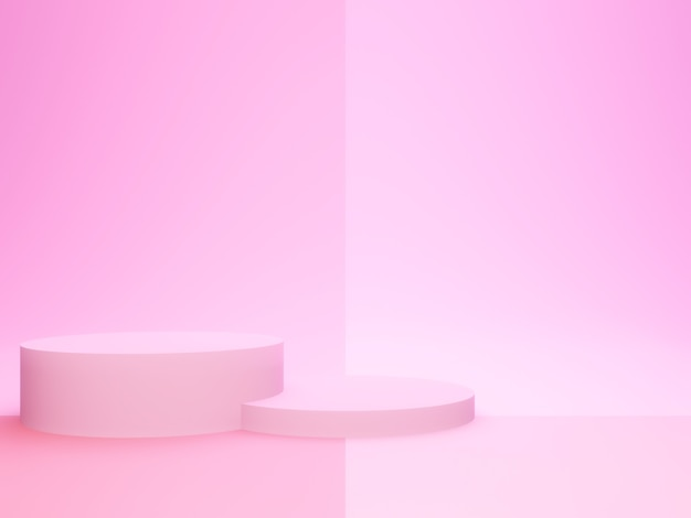 Rendering 3d. podio geometrico rosa.