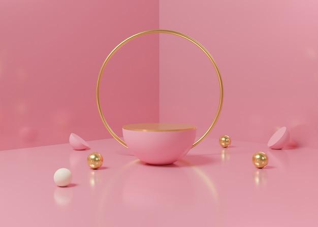 Rendering 3d stand di prodotto podio display rosa pastello sullo sfondo. geometria minima astratta. immagine premium