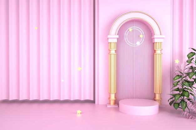 Rendering 3d di sfondo rosa piattaforma per la visualizzazione del prodotto