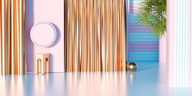 Rendering 3d di piattaforma rosa con tende dorate per la visualizzazione di un prodotto