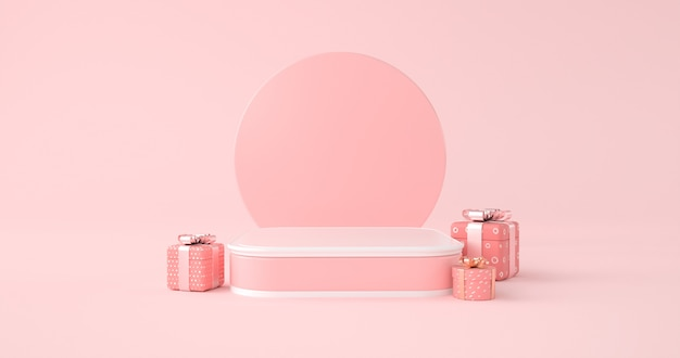Rendering 3d di podio rosa e confezione regalo.